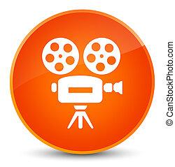 Video camera icon elegant orange round button
