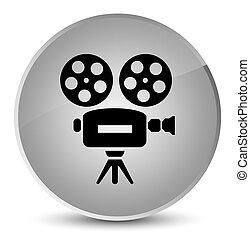 Video camera icon elegant white round button