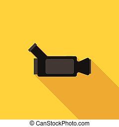 Video camera icon, flat style
