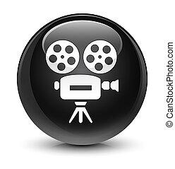 Video camera icon glassy black round button