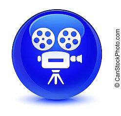 Video camera icon glassy blue round button