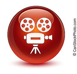 Video camera icon glassy brown round button