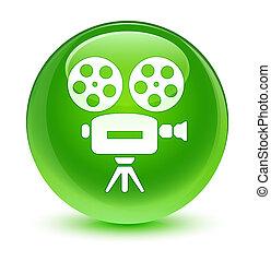 Video camera icon glassy green round button
