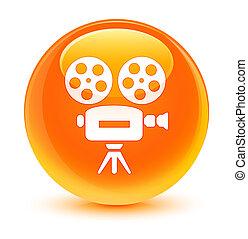 Video camera icon glassy orange round button