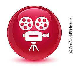 Video camera icon glassy pink round button