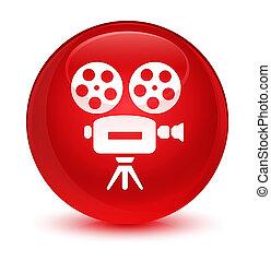 Video camera icon glassy red round button