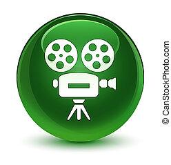 Video camera icon glassy soft green round button