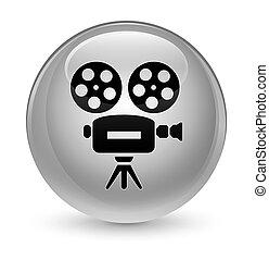 Video camera icon glassy white round button