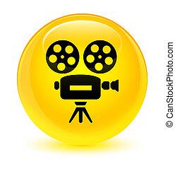Video camera icon glassy yellow round button