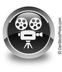 Video camera icon glossy black round button