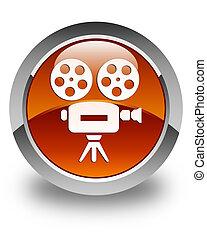 Video camera icon glossy brown round button