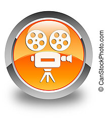 Video camera icon glossy orange round button