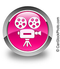 Video camera icon glossy pink round button
