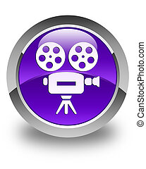 Video camera icon glossy purple round button