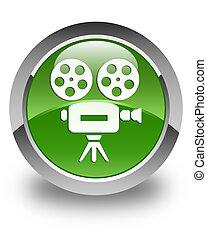 Video camera icon glossy soft green round button