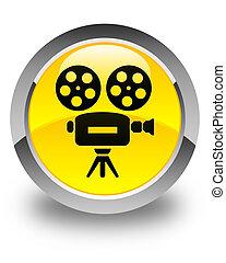Video camera icon glossy yellow round button