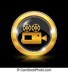 Video camera icon - Golden shiny icon on black background - ...