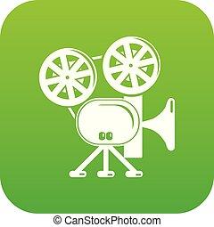 Video camera icon green vector