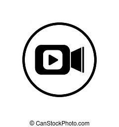 Video camera icon in flat style. Movie play vector illustration on white isolated background. Video streaming business concept