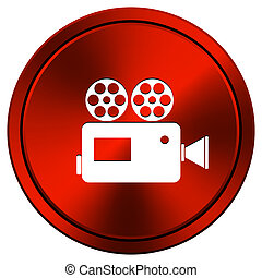 Metallic icon with white design on red background