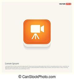 Video Camera Icon Orange Abstract Web Button