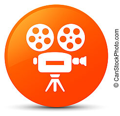 Video camera icon orange round button
