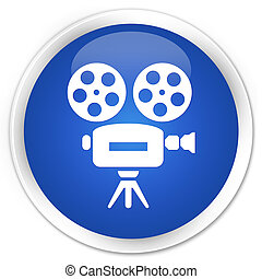Video camera icon premium blue round button