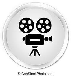 Video camera icon premium white round button