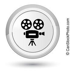 Video camera icon prime white round button