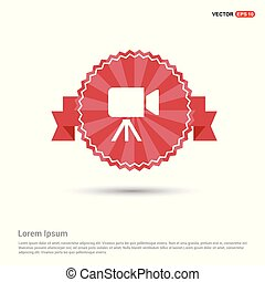 Video Camera Icon - Red Ribbon banner