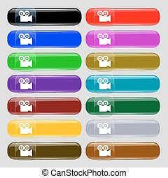 video camera icon sign. Set from fourteen multi-colored glass buttons with place for text. Vector