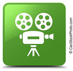 Video camera icon soft green square button