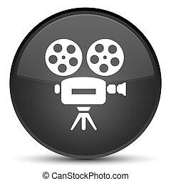Video camera icon special black round button