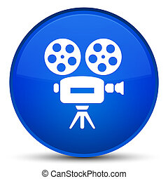 Video camera icon special blue round button