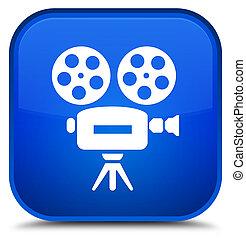 Video camera icon special blue square button