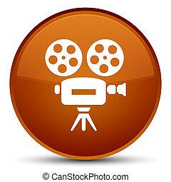 Video camera icon special brown round button