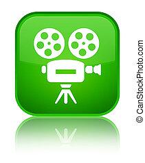 Video camera icon special green square button