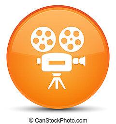 Video camera icon special orange round button