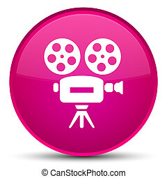 Video camera icon special pink round button