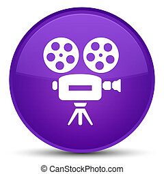Video camera icon special purple round button