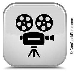 Video camera icon special white square button