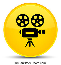 Video camera icon special yellow round button