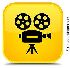 Video camera icon special yellow square button