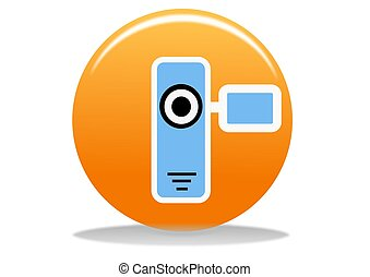 video camera icon - orange video camera web icon - web...