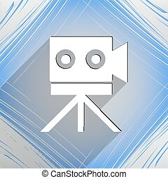 Video camera icon symbol Flat modern web design with long shadow and space for your text. Vector illustration