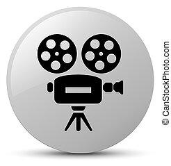 Video camera icon white round button