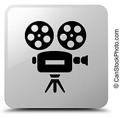 Video camera icon white square button