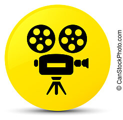 Video camera icon yellow round button