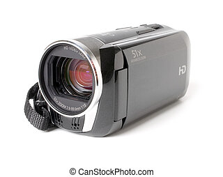 Video camera isolated on white background.