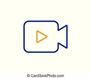 Video Camera line icon. Movie or Cinema sign. Vector